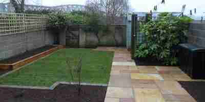 Garden Redesign with Sandstone Patio, Turf lawn,& Raised Sleeper Beds Nuns Walk, Drogheda co.Louth