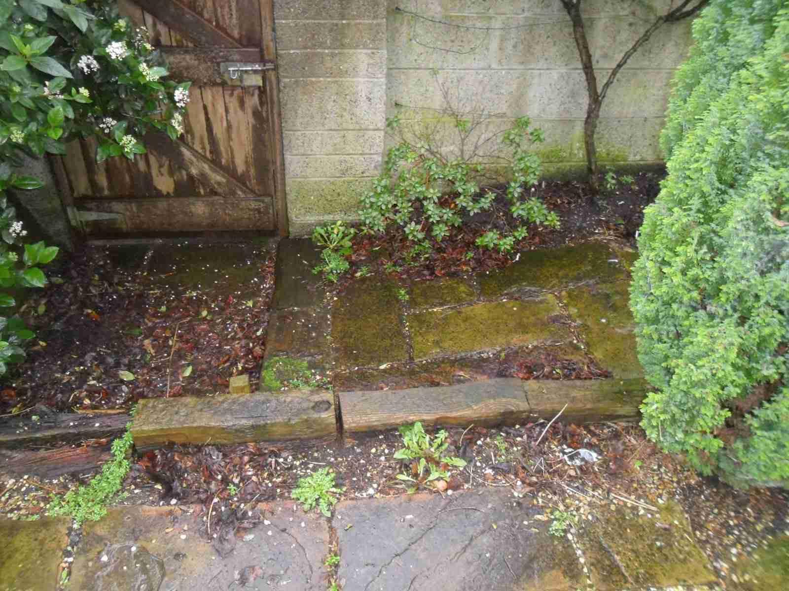 Garden redesign with sandstone patio turf lawn raised for Garden redesign