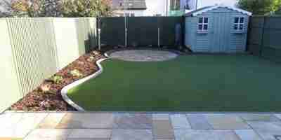 Artificial Grass Lawn & Patio Garden Makeover Roschoill, Drogheda Co.Louth