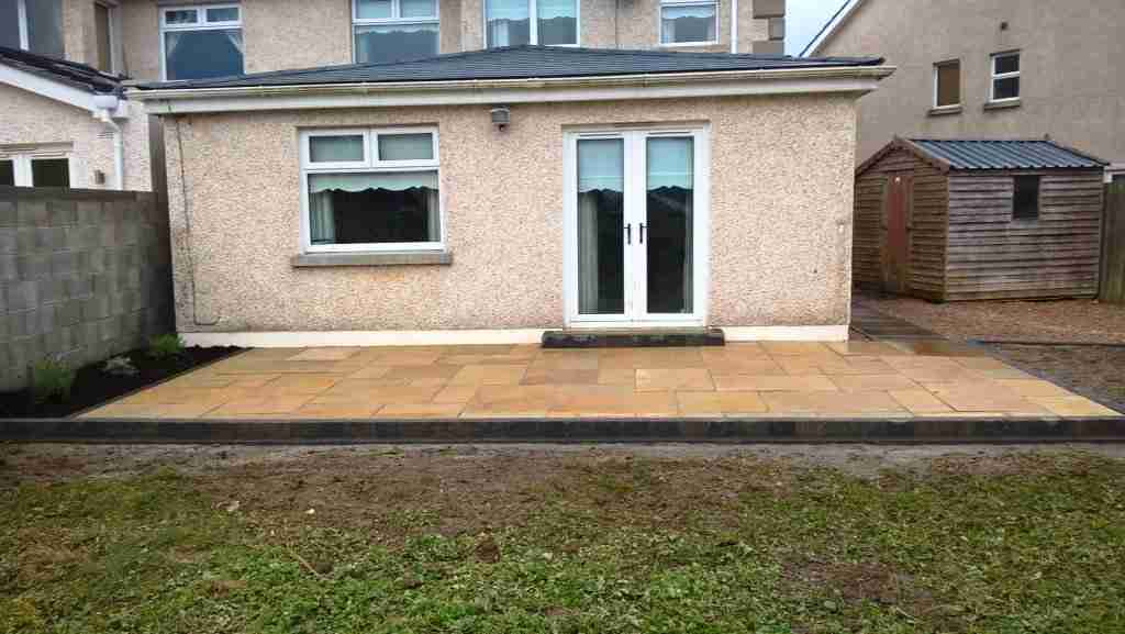 New Limestone Patio With Side Passage Area Gravelled, Glasheen, Stamullen Co.Meath