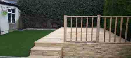 Dog Friendly Garden With Artificial lawn & Timber Deck Drogheda Co.Louth