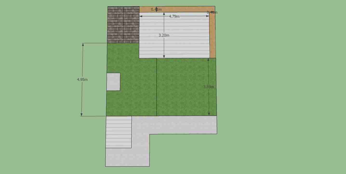 Image of concept garden design in plan view with dimensions