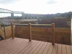 Image of new contemporary deck area with panoramic view of the Viaduct Bridge
