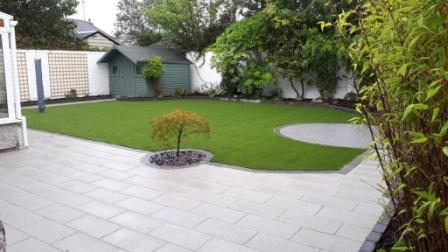 Garden redesigned with and artificial lawn
