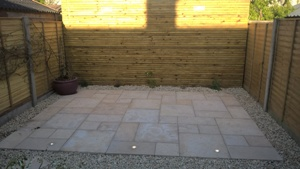 Gold granite paving with lights