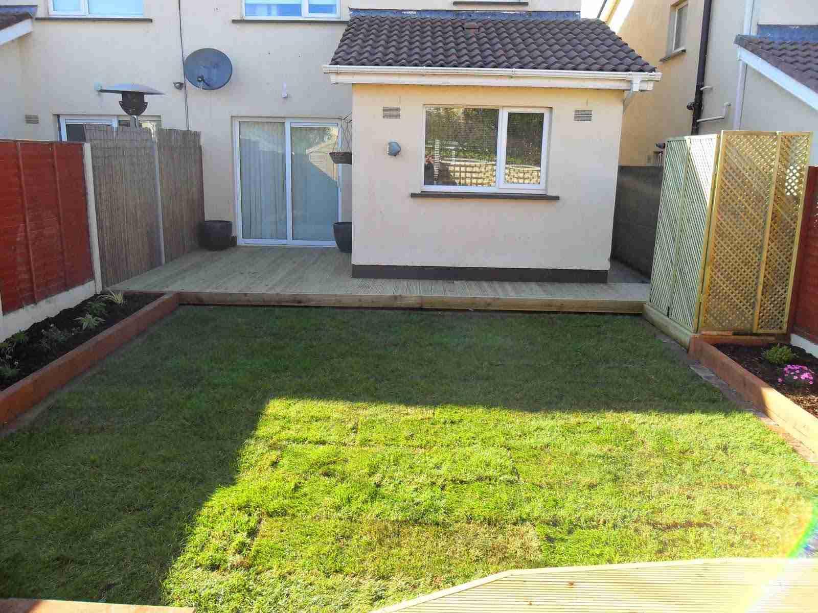 Landscaping a rear garden design makeover & decking, Inse ...