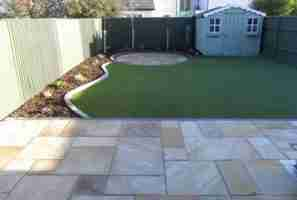 Low Maintenance Artificial Grass Lawn & Patio Garden Design Roschoill, Drogheda Co.Louth