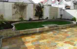 Terraced Garden Design, Donegal Quartz Paving, Raised Beds, The Spires, Termonfeckin co.Louth