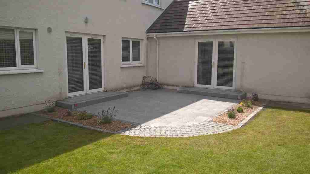 Replacement Decking With  A Silver Granite Patio & Beds, Termonfeckin, Co.Louth