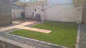 Image of angular New lawn path & patio