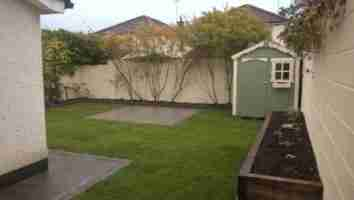 Rear Garden Design With Grey Limestone Patio, Turf Lawn & Raised beds ,The Cairns, Drogheda.