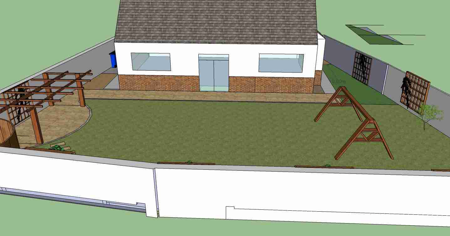 Photo of 3d garden design with pergola and curving patio