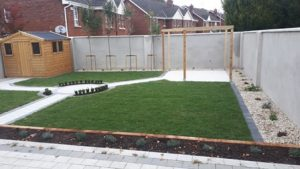 Image of Pergola paving turf lawn raised sleeper beds