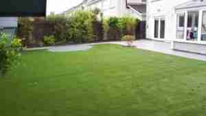 Image of artificial lawn space for family use