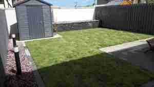 Image of new Raised bed, turf lawn, lighting , gravel bed