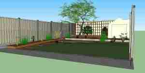 3D design of new garden viewed from house