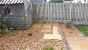 Image of new Stepping stones path set in gravel to shed