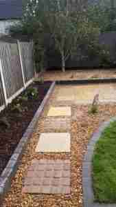 Image of yellow limestone and sandstone mixed Stepping stone path to patio