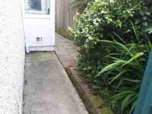 Image of side passage area, old concrete and paving