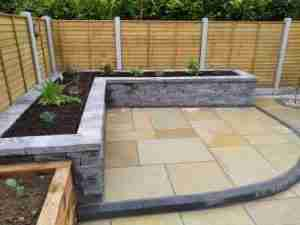 Image of raised bed & patio with Killsaran Connemara walling
