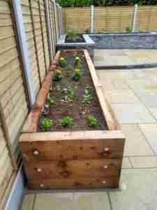 Raised sleeper beds for growing vegetables