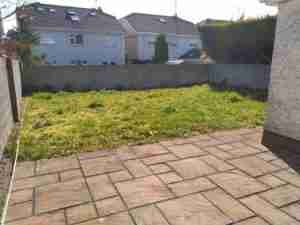 Image of overlooked garden with weeds and bare walls
