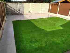 Artificial lawn and Belgian Grey Porcelain Outdoor tiles