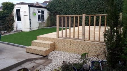 Artificial lawn and decking