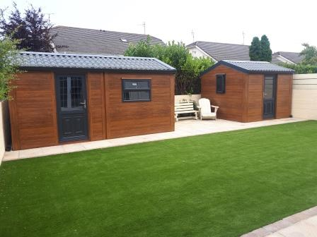 Artificial lawn paving and steel sheds 2