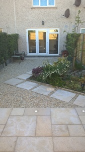 Gold granite paving